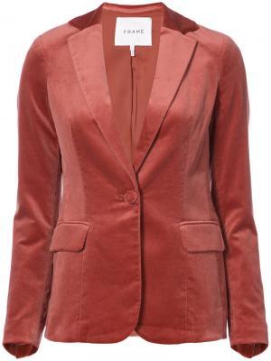 Бархатный пиджак Frame Denim. Цвет: красный