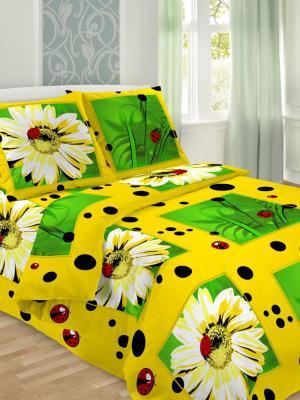 Комплект постельного белья, 1,5-сп, бязь, пододеяльник на молнии Letto. Цвет: желтый,белый,зеленый
