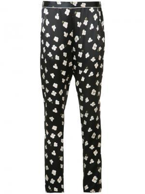 Пижамные брюки с цветочным узором Fleur Du Mal. Цвет: чёрный