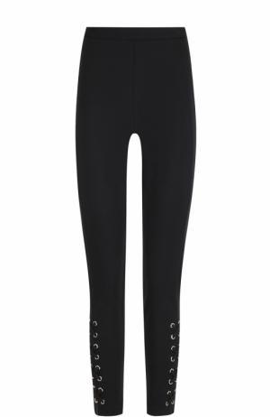 Однотонные брюки-скинни со шнуровкой MICHAEL Kors. Цвет: черный