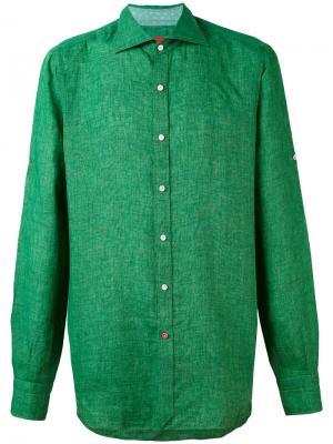 Классическая рубашка Isaia. Цвет: зелёный