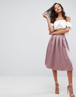 Missguided Атласная юбка миди со складками. Цвет: фиолетовый