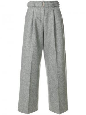 Широкие брюки с поясом YMC. Цвет: серый