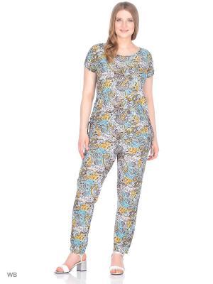 Комплект брюки+блузка, модель Лоис Dorothy's Home. Цвет: бирюзовый, желтый