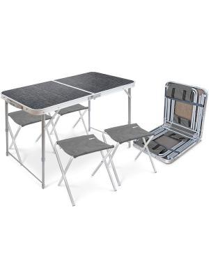 Набор Стол складной со стульями (4 шт) Nika. Цвет: серо-голубой