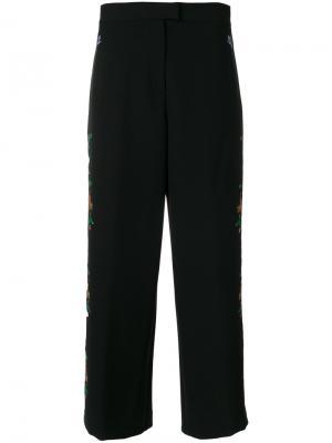 Широкие брюки с цветочной вышивкой Vivetta. Цвет: чёрный