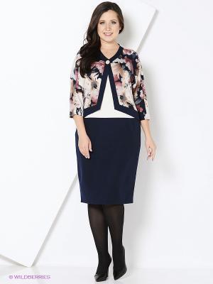 Платье OLSI. Цвет: синий, молочный, розовый