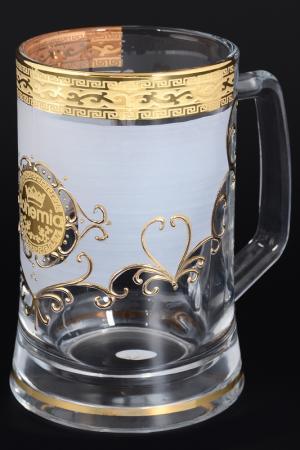 Пивная кружка 500 мл Bohemia. Цвет: прозрачный, золотой