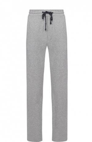 Хлопковые спортивные брюки прямого кроя James Perse. Цвет: серый