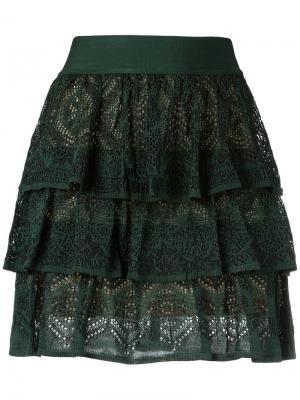 Knit ruffled skirt Cecilia Prado. Цвет: зелёный