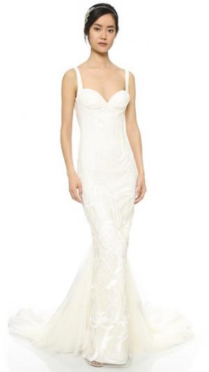 Вечернее платье Geneva со съемными шлейфом Katie May. Цвет: золотой