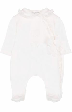 Хлопковая пижама с оборками и бантом Aletta. Цвет: кремовый