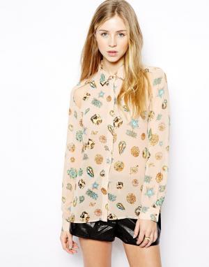Рубашка с принтом  Tess Jovonnista. Цвет: розовый