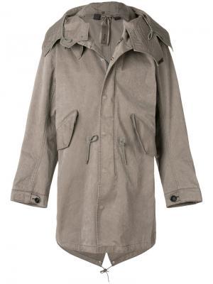 Пальто с капюшоном Ten-C. Цвет: серый