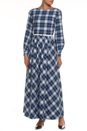 Платье-макси NATALIA PICARIELLO. Цвет: синий, белый