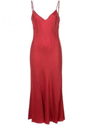 Длинное комбинированное платье Organic By John Patrick. Цвет: красный