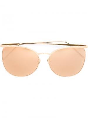 Солнцезащитные очки в оправе кошачий глаз Linda Farrow. Цвет: жёлтый и оранжевый