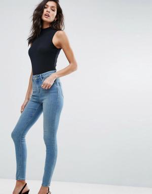 ASOS Синие джинсы скинни RIDLEY. Цвет: синий
