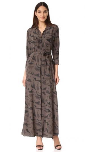 Длинное платье-рубашка Cameron L'AGENCE. Цвет: камуфляжный мульти