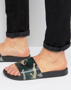 ASOS Шлепанцы с камуфляжным принтом. Цвет: зеленый