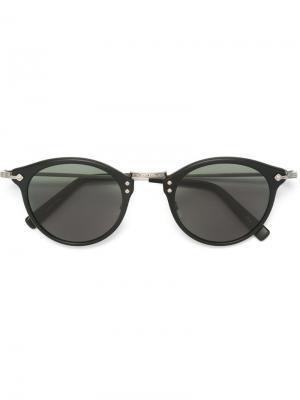 Солнцезащитные очки с круглой оправой Masunaga. Цвет: чёрный
