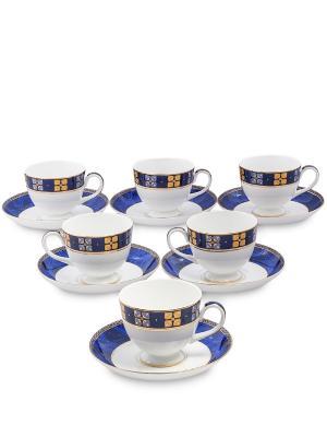 Чайный набор на 6 перс. Золотой Палермо (Gold Palermo Pavone) Pavone. Цвет: белый, золотистый, синий