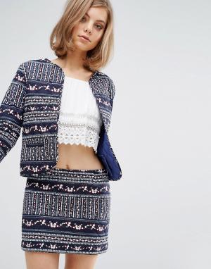 Vanessa Bruno Athé Стеганая приталенная куртка с принтом Athe. Цвет: синий