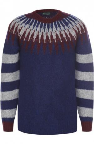 Шерстяной свитер с контрастным узором Daniele Fiesoli. Цвет: синий