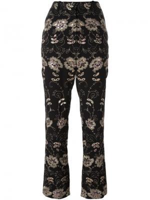 Брюки с цветочной вышивкой Givenchy. Цвет: чёрный
