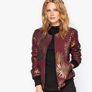 Куртка-бомбер жаккардовая La Redoute Collections. Цвет: красный