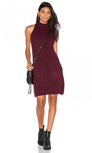 Вязаное платье в рубчик scarlett Bishop + Young. Цвет: вишня
