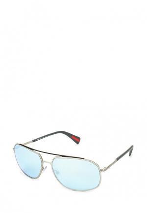 Очки солнцезащитные Prada Linea Rossa. Цвет: серебряный