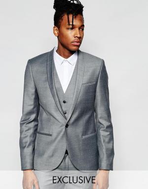 Noak Фланелевый пиджак на свадьбу суперзауженного кроя. Цвет: серый