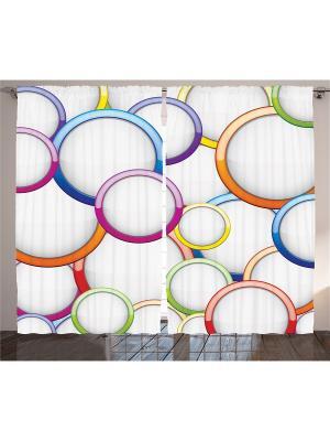 Фото штор белый Фиолетовые, синие, оранжевые, жёлтые, зелёные, красные и розовые кольца Magic Lady. Цвет: белый, синий, зеленый, фиолетовый, оранжевый, желтый