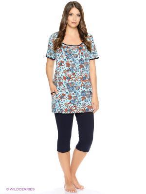 Комплект домашней одежды HomeLike. Цвет: бирюзовый, темно-синий