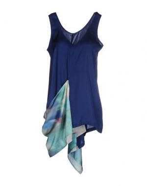 Короткое платье MARIA CALDERARA. Цвет: синий