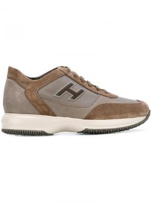 Кроссовки с логотипом Hogan. Цвет: коричневый