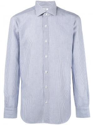 Полосатая рубашка Barba. Цвет: синий