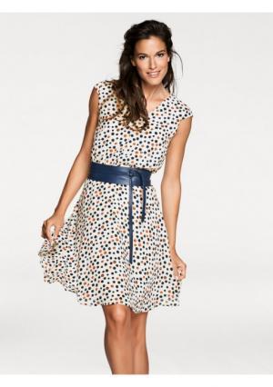 Платье PATRIZIA DINI. Цвет: экрю/темно-синий