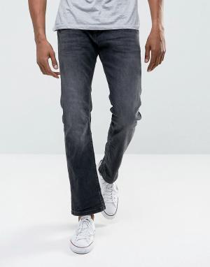 Esprit Черные прямые джинсы из органического денима. Цвет: черный