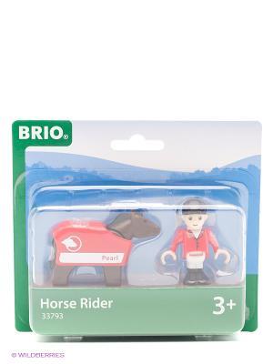 BRIO лошадка с попоной и всадник  33793. Цвет: коричневый, красный