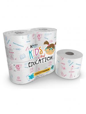 Туалетная бумага Kids Edu серия Kartika, 3-х слойная, 4 рулона по 200 листов, 20.4 м/рулон World Cart. Цвет: белый