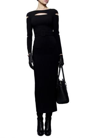 Платье-футляр с рукавами от горловины BGL. Цвет: черный
