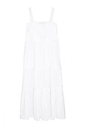 Хлопковое платье Veronique Branquinho. Цвет: белый