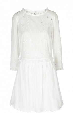 Кружевное мини-платье с оборками Zadig&Voltaire. Цвет: белый