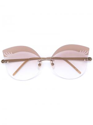 Солнцезащитные очки Loree Rodkin Wink Sama Eyewear. Цвет: металлический