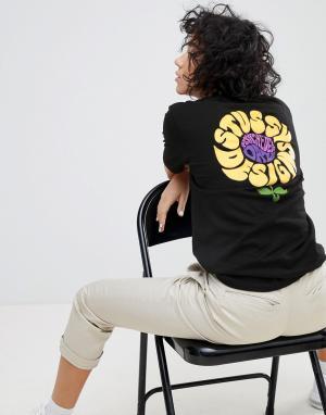 Stussy Футболка оверсайз с цветами на спине. Цвет: черный