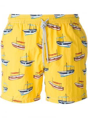 Плавательные шорты с принтом лодок Capricode. Цвет: жёлтый и оранжевый