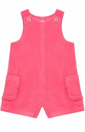Хлопковый мини-комбинезон с накладными карманами и оборками Il Gufo. Цвет: розовый