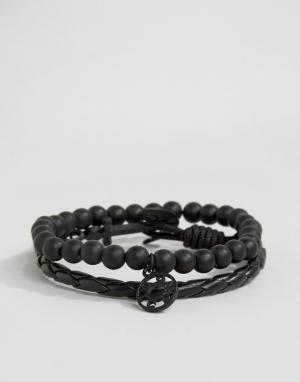 Icon Brand Черные браслеты Silverball. Цвет: черный